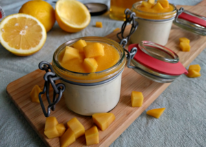 Yoghurt panna cotta met mangocoulis