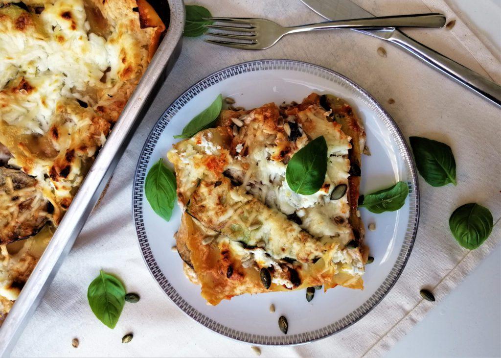 Lasagne met geitenkaas, courgette en aubergine