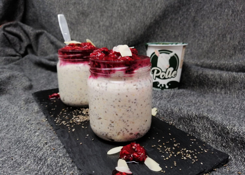 Overnight oats met geitenyoghurt en frambozen